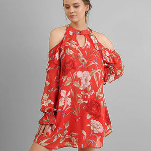 Floral Print Dress With Ruffled Wrists